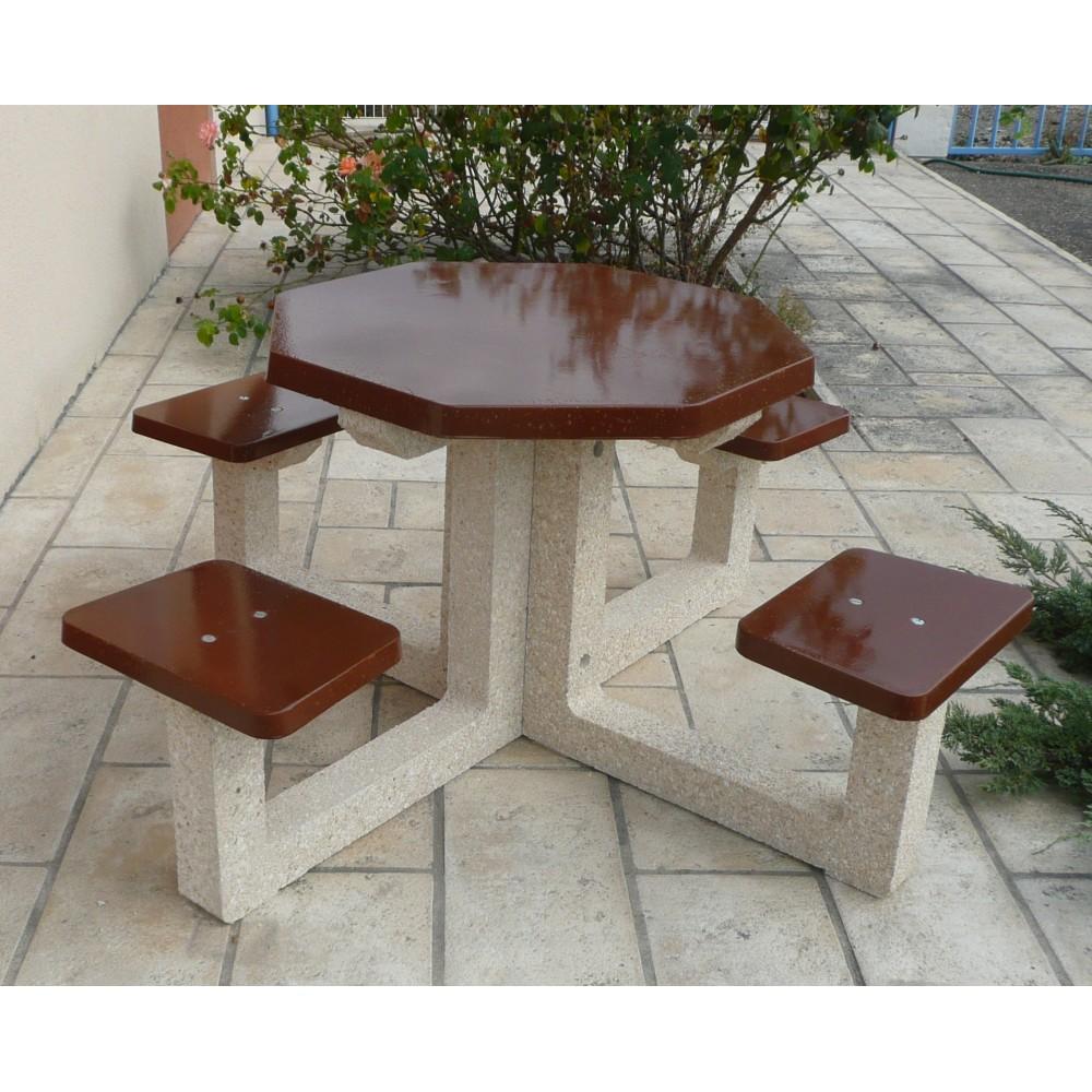 table pique nique 4 places en b ton. Black Bedroom Furniture Sets. Home Design Ideas