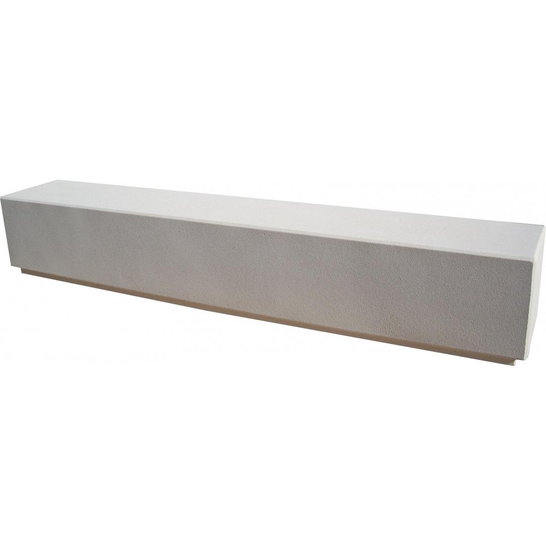 Banc monobloc 270x45 blanc sablé ton pierre