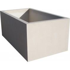Jardinière 150x80x60 - Finition blanc sablé ton pierre