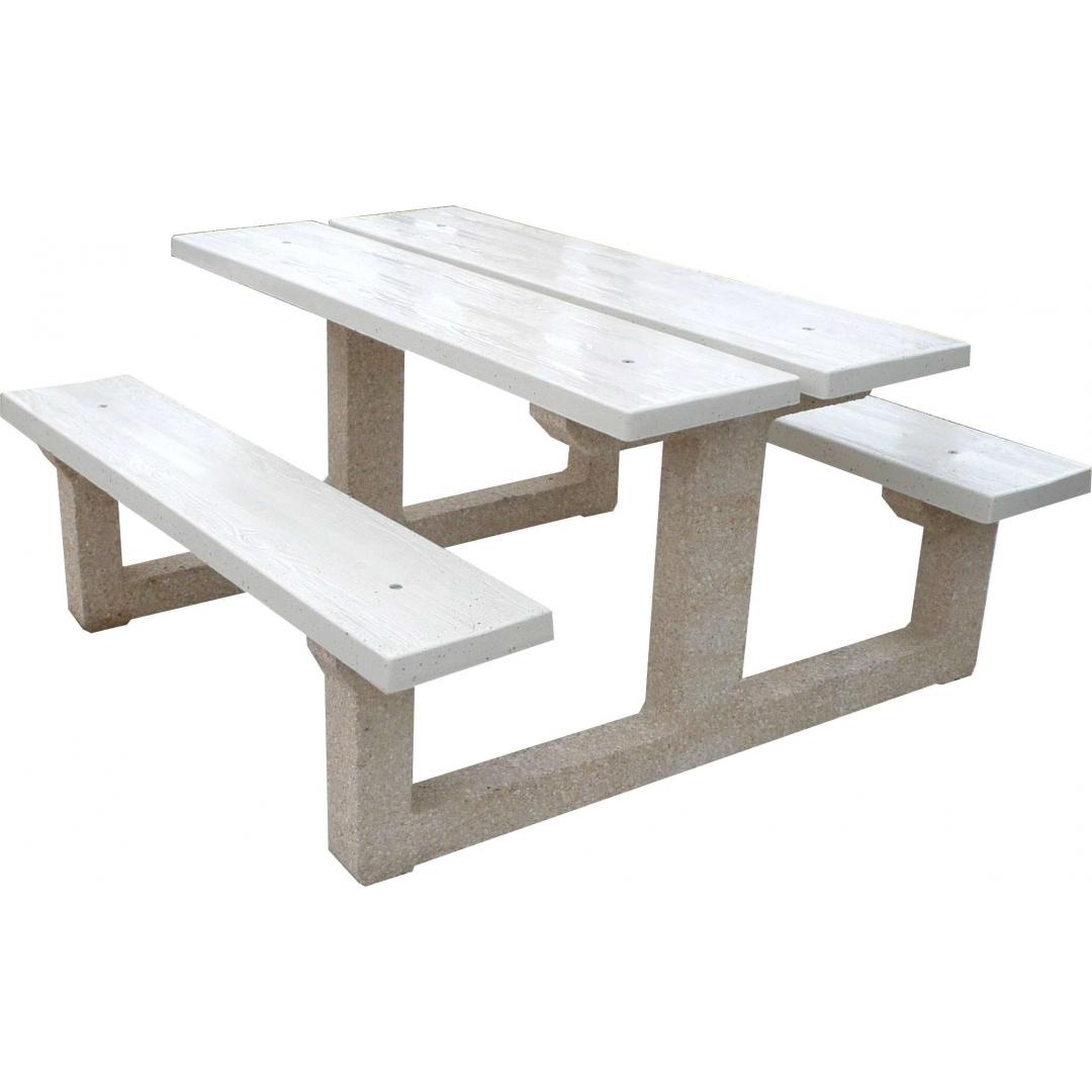 Table béton blanc perle