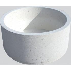 Jardinière cylindrique - Finition Blanc sablé ton pierre