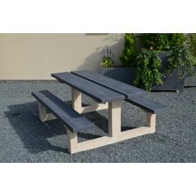 Table béton bois TABG200 - finition gris foncé