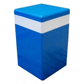 Borne carrée 40x40 cm - Spécifique bleue avec bande de contraste
